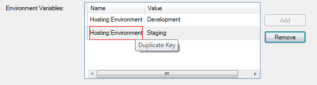 ASP.NET 5 environment variable duplicate key issue error