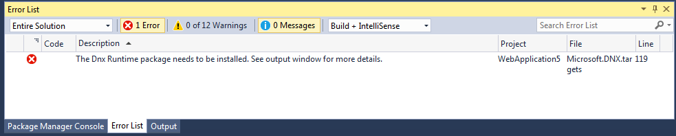 The Dnx Runtime package needs to be installed. See output window for more details