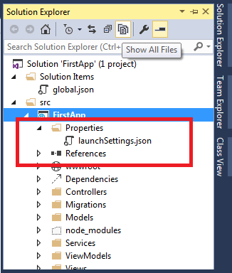 Launchsetting json in Visual Studio solution explorer