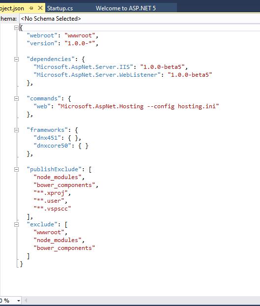 Project json content empty template