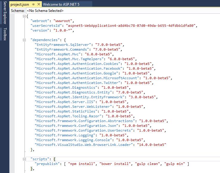 Project json web application content