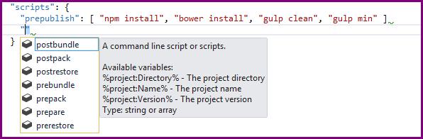 Project json script section events