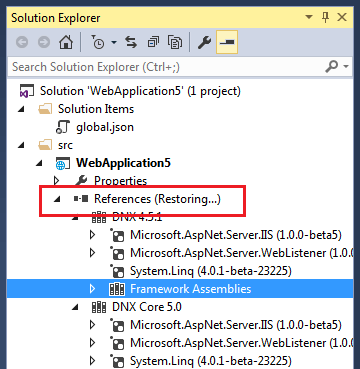 Solution Explorer Restoring Package