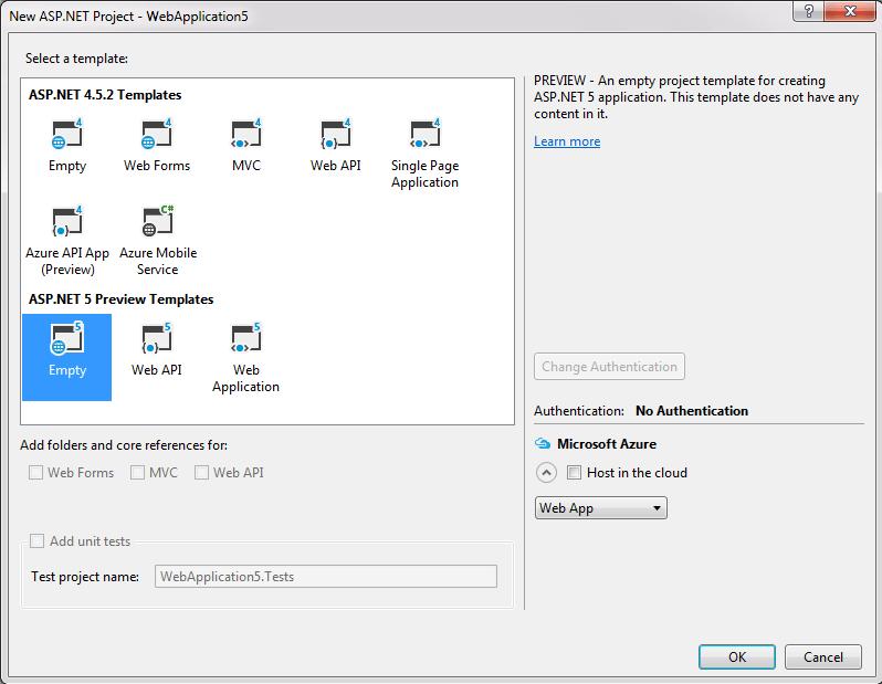 ASP.NET 5 Empty Template