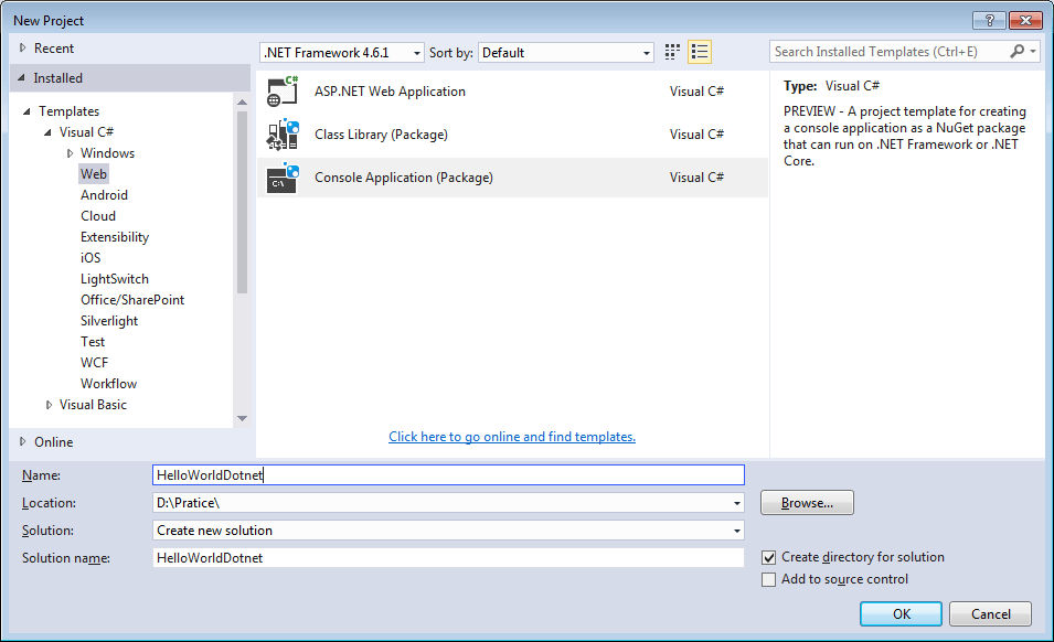 Create New Console Application Visual Studio 2015