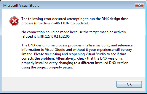 dnx project start up error in VS 2015