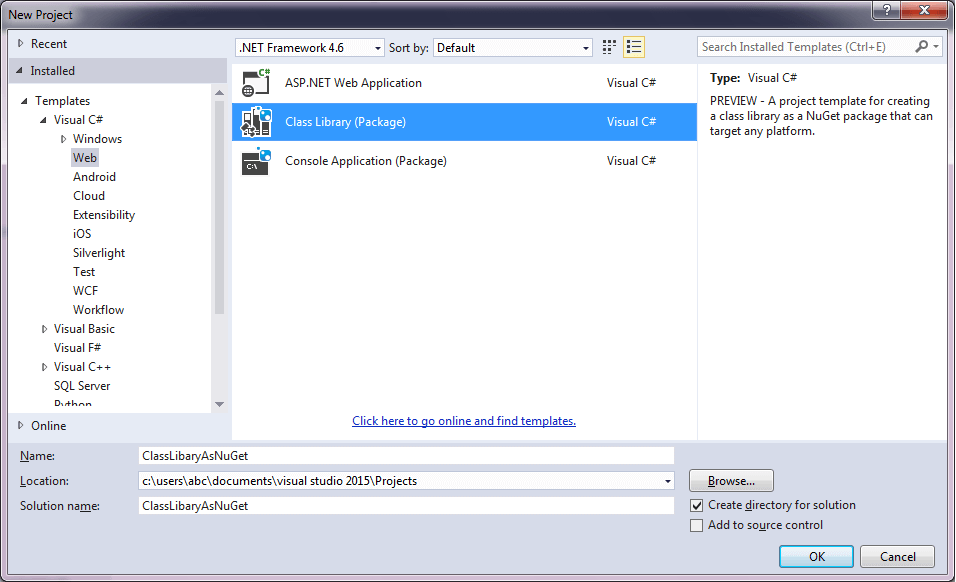 Create Class Library Package as Nuget step 1