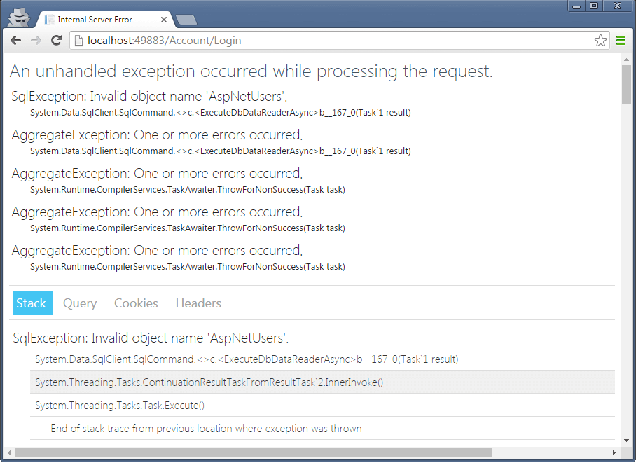 UseDeveloperException_In case of DB errors