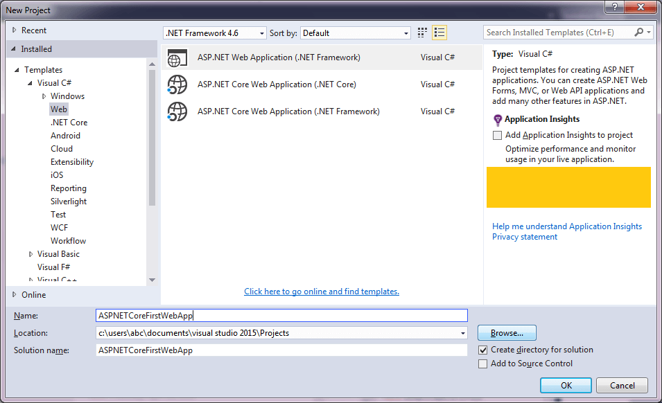 Visual Studio 2015 RC2 Templates -1