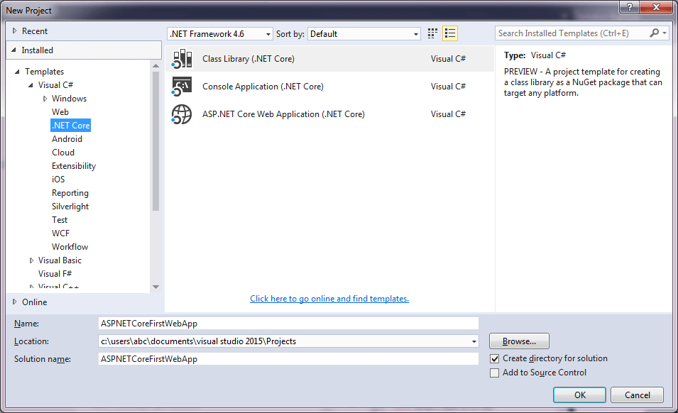 Visual Studio 2015 RC2 Templates -2