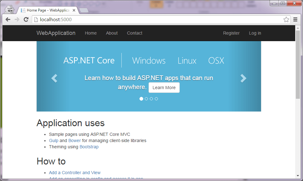 ASP.NET Core app running in browser