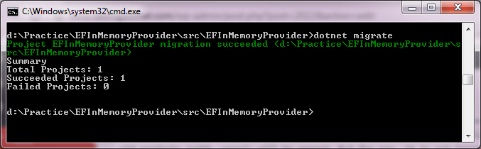 Fix for no executable found matching command dotnet-migrate