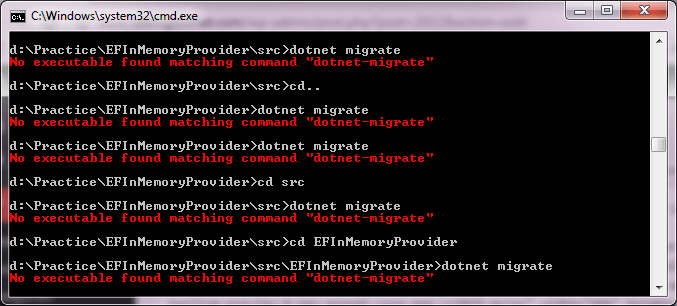 no executable found matching command dotnet-migrate