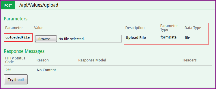 How to upload file via Swagger in ASP NET Core Web API