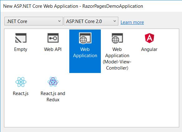 Create new Razor Page application