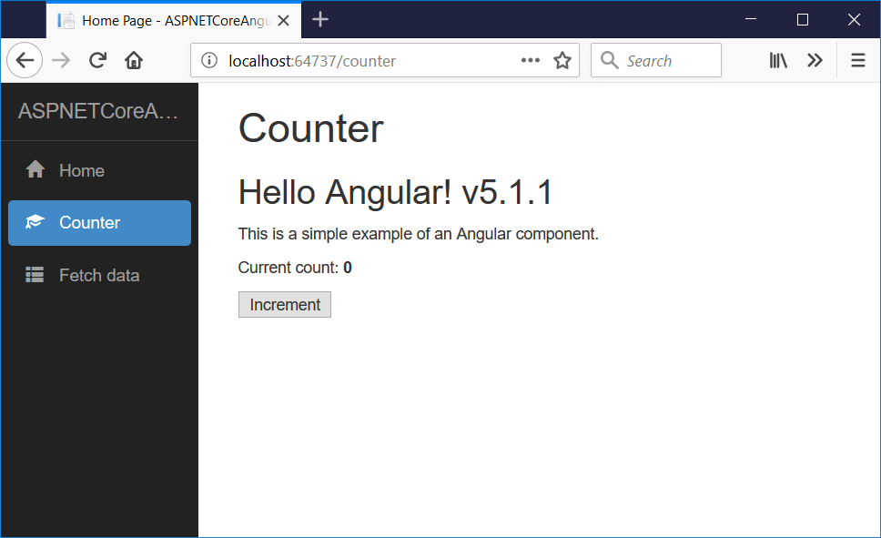Angular 5 running app running in the browser