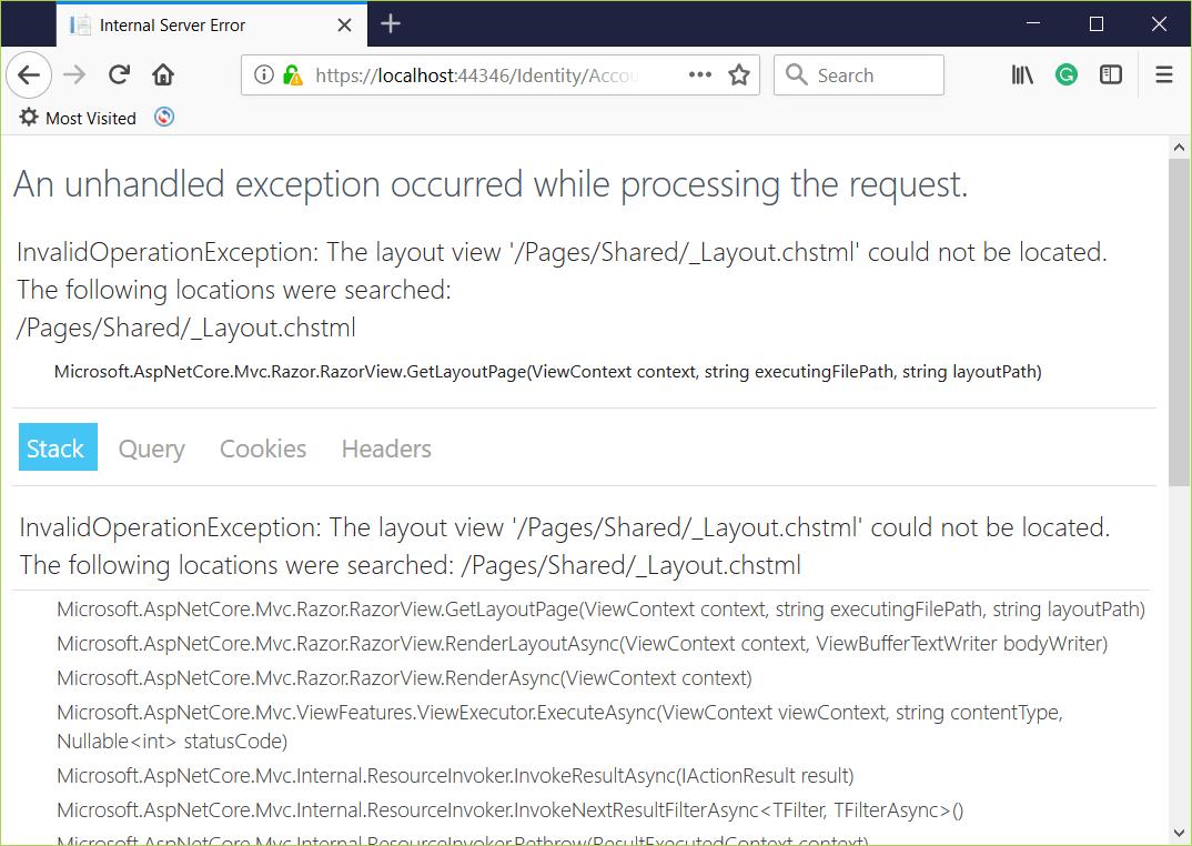 Error while identity scaffolding