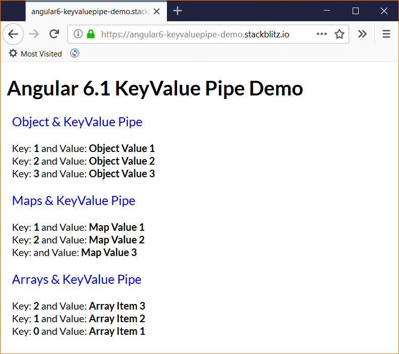 Angular 6.1 introduces a new KeyValue Pipe