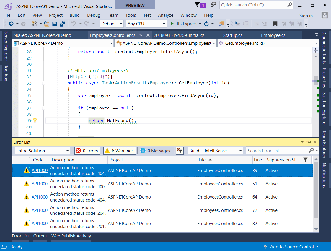 ASP.NET Core 2.2 introduces API Analyzers
