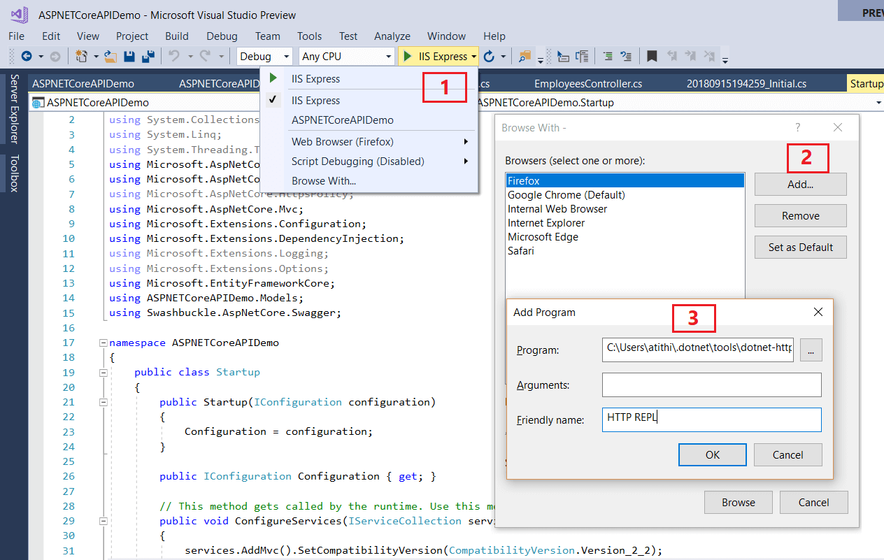 Add to Visual Studio HTTP API REPL Tool