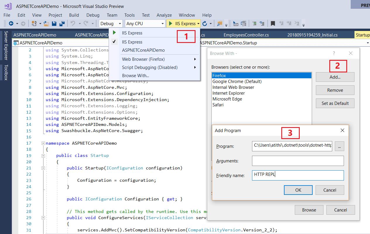 Add to Visual Studio HTTP API REPL Tool