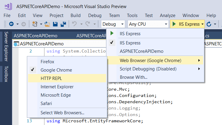 HTTP API REPL Tool Added to Visual Studio