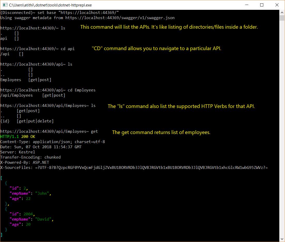 HTTP API REPL Tool to test API in ASP.NET Core 2.2_1