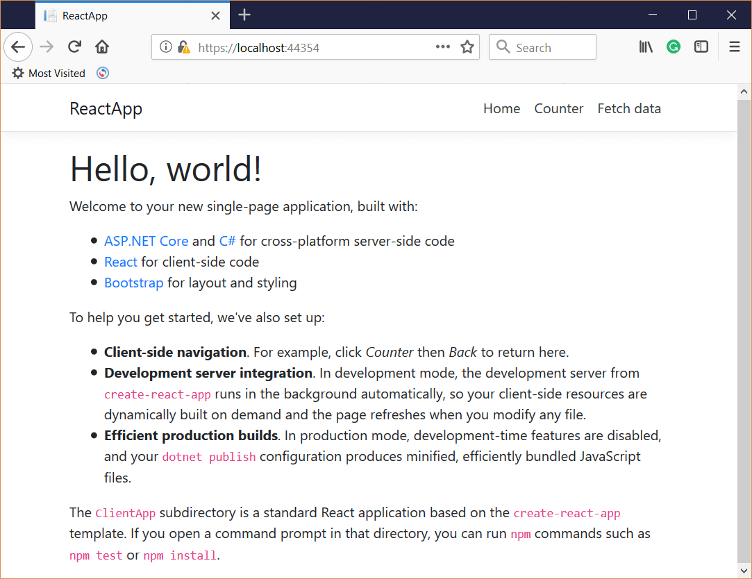 Create a React App with Visual Studio 2017 and ASP NET Core 2 2