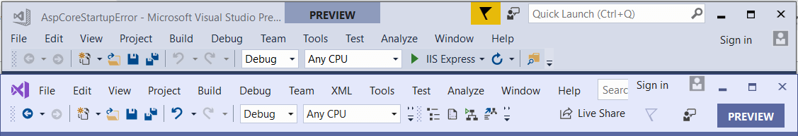 Visual Studio Theme Difference