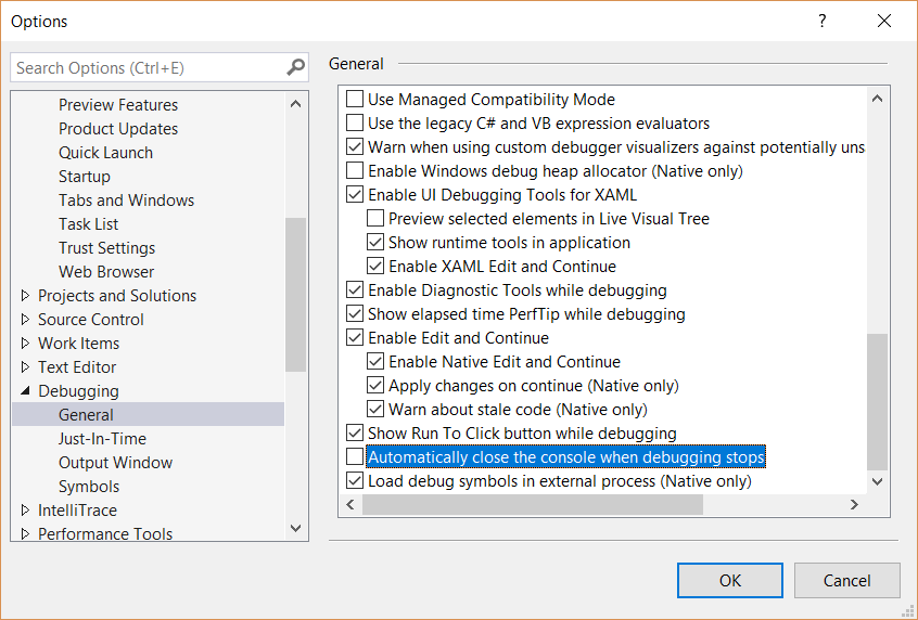 Visual Studio 2019 Turn off Integrated Console Environment