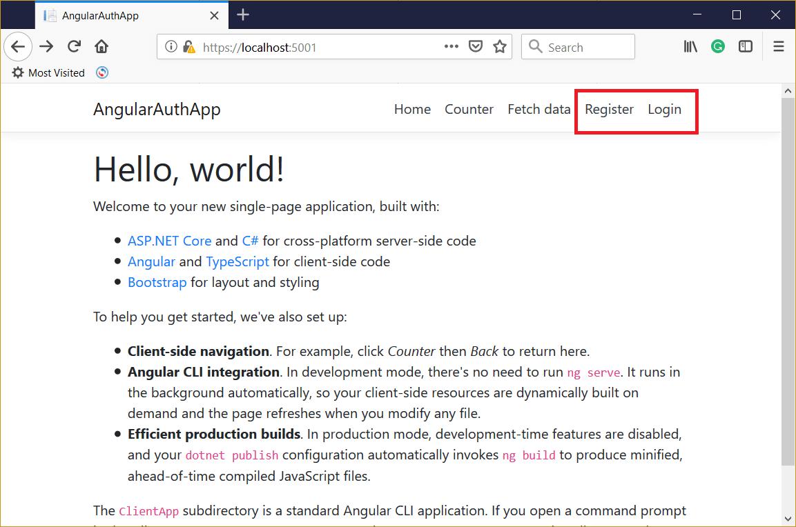 Add Authentication to Angular 7 App using ASP NET Core 3