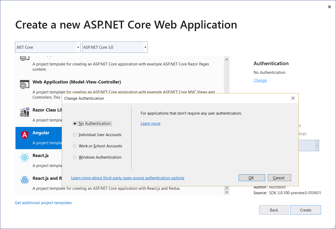 Add Authentication to Angular 7 App using ASP NET Core 3
